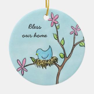 Little Birdie Round Ceramic Decoration