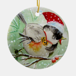 Little Birdie with Santa Hat Ornament