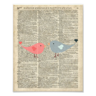 Little Birds Love Collage On Old Dictionary Page Art Photo
