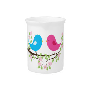 Little Birds on Floral Branch Beverage Pitcher