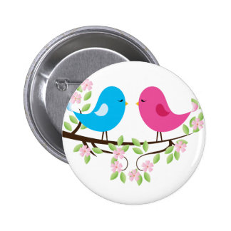 Little Birds on Floral Branch Buttons