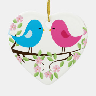 Little Birds on Floral Branch Christmas Ornament