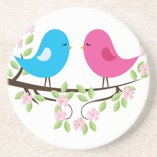 Little Birds on Floral Branch Coasters
