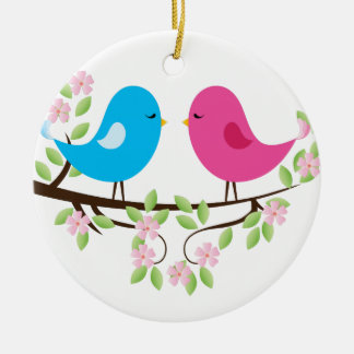 Little Birds on Floral Branch Ornaments