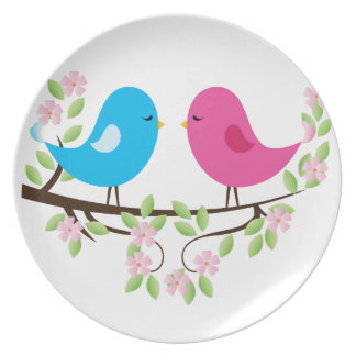 Little Birds on Floral Branch Dinner Plates