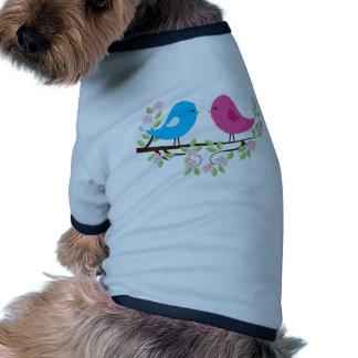 Little Birds on Floral Branch Pet T Shirt