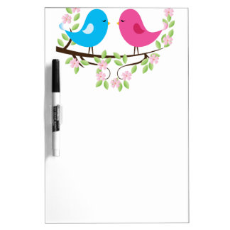 Little Birds on Floral Branch Dry-Erase Whiteboards
