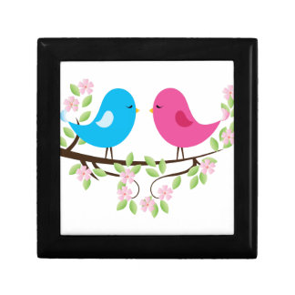 Little Birds on Floral Branch Jewelry Box
