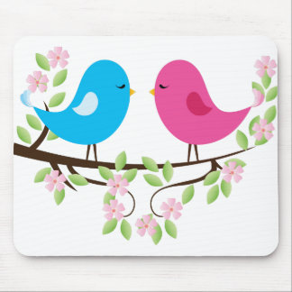 Little Birds on Floral Branch Mousepad