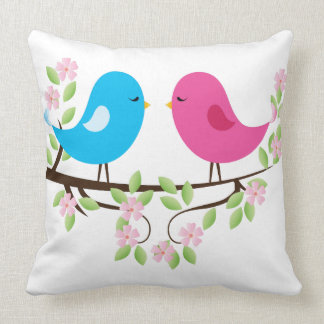 Little Birds on Floral Branch Pillows