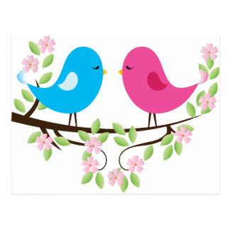 Little Birds on Floral Branch Postcard