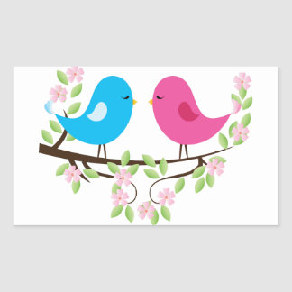 Little Birds on Floral Branch Rectangular Sticker