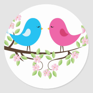 Little Birds on Floral Branch Round Stickers