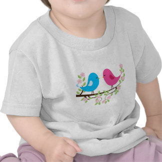 Little Birds on Floral Branch Shirts