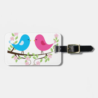 Little Birds on Floral Branch Tag For Bags