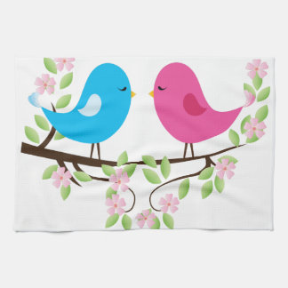 Little Birds on Floral Branch Hand Towel