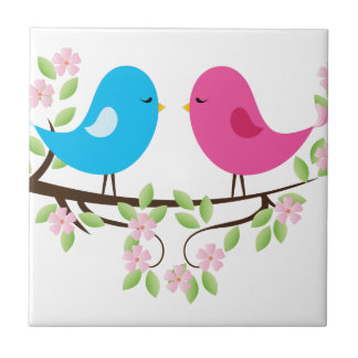 Little Birds on Floral Branch Tile