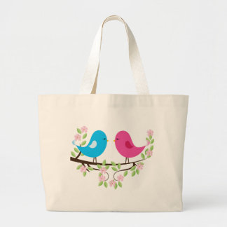Little Birds on Floral Branch Tote Bags