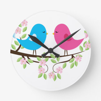 Little Birds on Floral Branch Wallclock