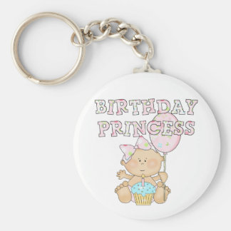 Little Birthday Princess Tshirts and Gifts Basic Round Button Key Ring