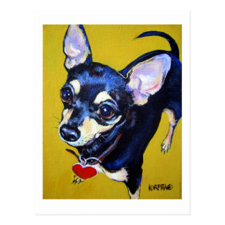 Little Bitty Chihuahua - Black and Tan Chihuahua Postcard