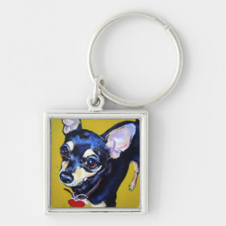 Little Bitty Chihuahua - Black and Tan Chihuahua Silver-Colored Square Key Ring