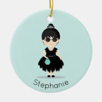 Little Black Dress Soiree Round Ceramic Decoration