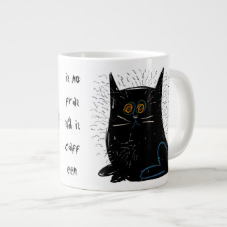 Little black frazzled cat jumbo mug