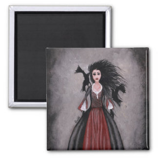 Little Black Haired Girl + Crows Magnet