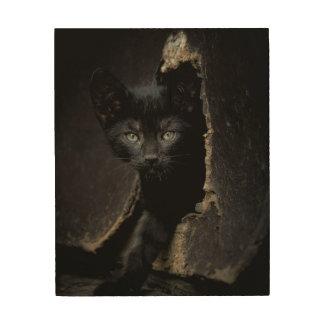 Little Black Kitty Wood Wall Decor
