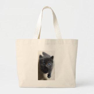 Little Black Manx with big blue eyes Canvas Bag
