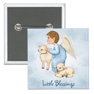 Little Blessings Angel Boy 15 Cm Square Badge