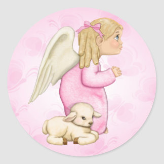 Little Blessings Angel Girl Round Sticker