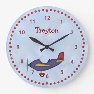 Little Blue Aeroplane Wall Clock