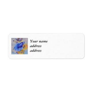 Little Blue Betta Fish Return Address Label