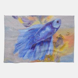 Little Blue Betta Fish Tea Towel