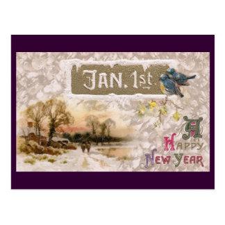 Little Blue Birds Tweet the New Year Postcard