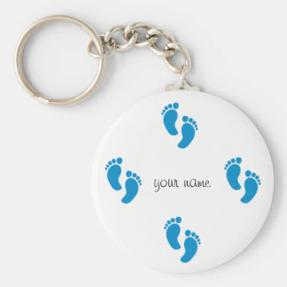 "Little Blue Feet  and '' Your Name Here "" Key Ring"