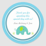 Little Blue Green Elephant Baby Shower Favour