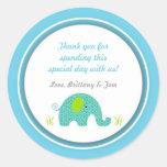 Little Blue Green Elephant Baby Shower Favour Round Sticker