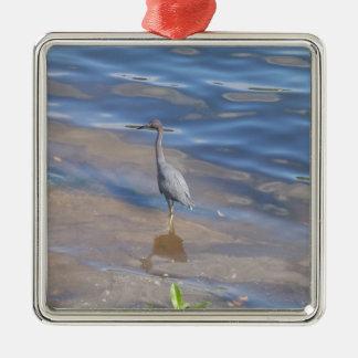 Little Blue Heron Silver-Colored Square Decoration