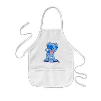 Little blue puppy cooking apron