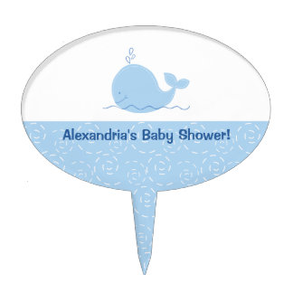 Little Blue Whale Baby Shower Cake Topper Pick