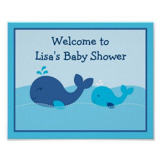 Little Blue Whale Baby Shower Welcome Sign Poster