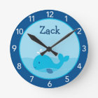 Little Blue Whale Personalised Nursery Wall Clock
