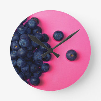 Little Blueberries Happy Pink Background - Fruit P Wall Clock