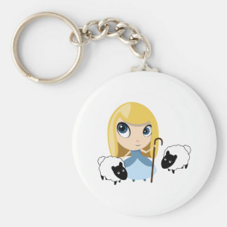 Little Bo Peep and her Sheep Basic Round Button Key Ring