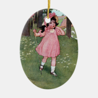 Little Bo-Peep and Missing Sheep Nursery Rhyme Ceramic Oval Decoration
