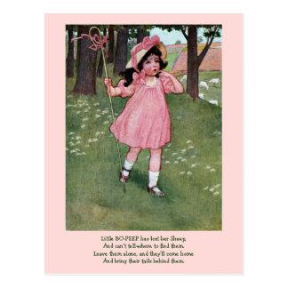 Little Bo-Peep and Missing Sheep Nursery Rhyme Postcard