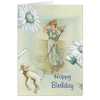 Little Bo Peep Happy Birthday Greeting Card
